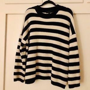 European Oversized Striped Sweater One Size